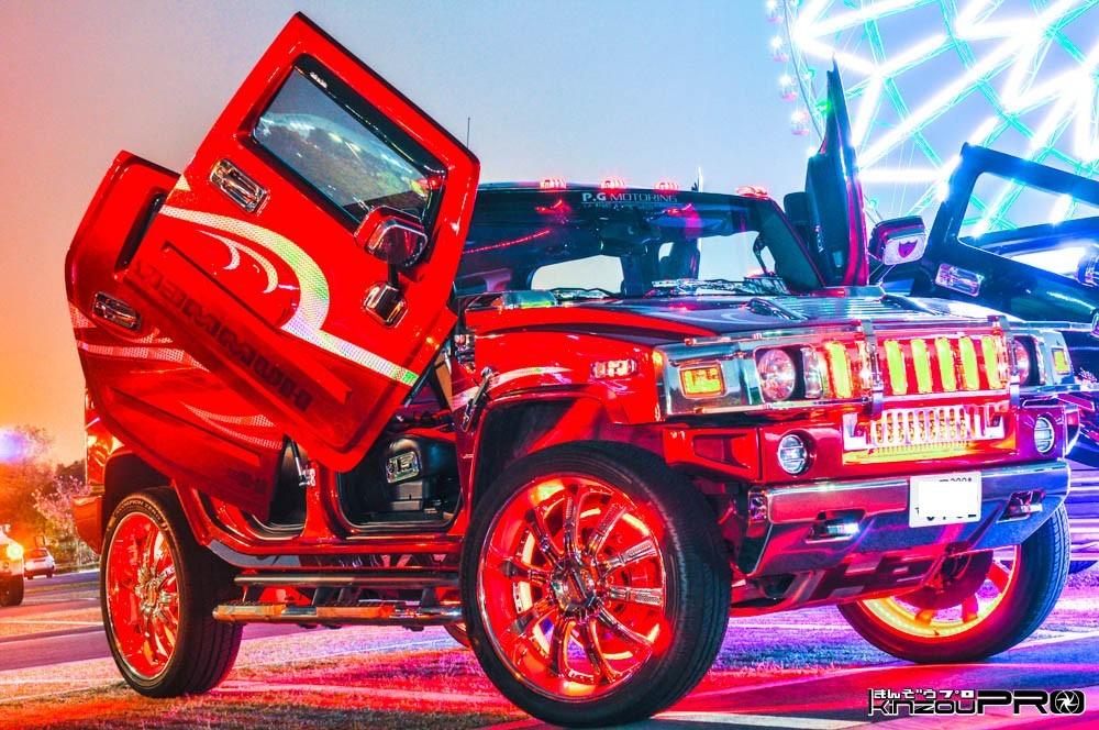 Photo of 4枚ガルに電飾とスワロフスキーで輝くH2AJのラグジー系ハマーPG MOTORING謹製