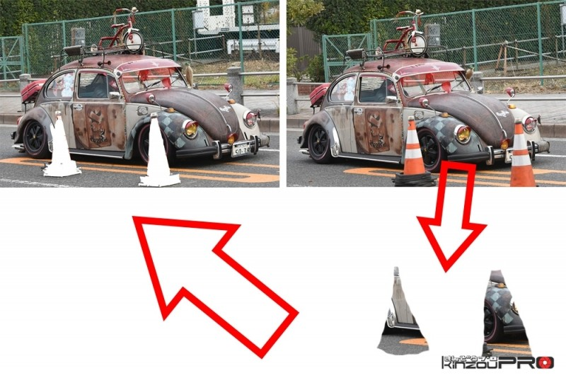 どかせない邪魔なものを消す画像処理でやられ系VWビートルの見栄えを良くする! 4